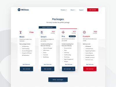 Packages page - Telecommunication company