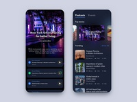 Podcasts Exploration mobile app ui ux iphonex neon colors blurred background events app architecture player podcast minimal dark night