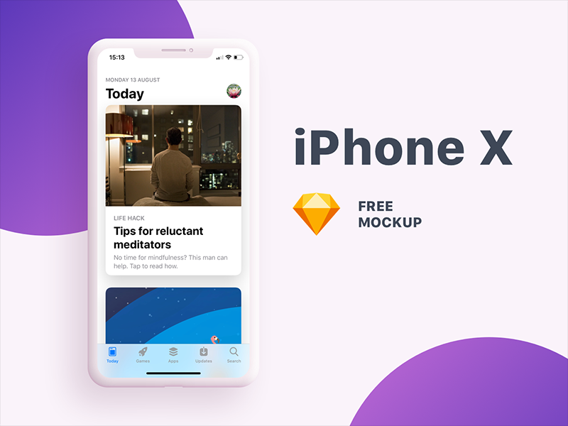 iPhone X Mockup template sketch ux ui free mockup device mobile iphone x ios