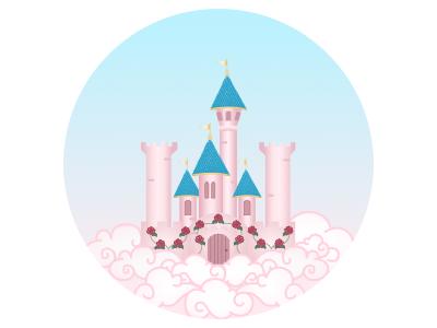 Palace princess pink village enchanted clouds palace icons