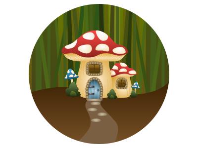 Troll trolls grass reeds spots house mushroom icon