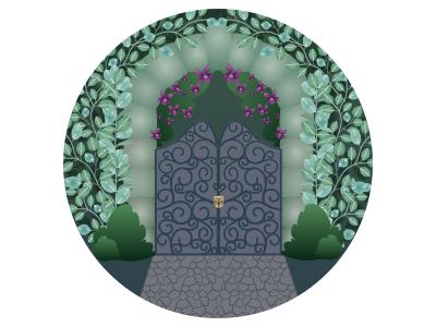 Secret Garden magical enchanted lock leaves flowers gate garden secret