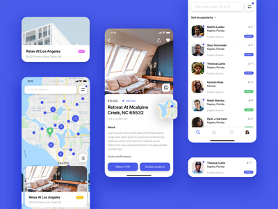 Real Estate AR App map card booking concept design ios app design real estate augmented reality mobile app ui ux mobile