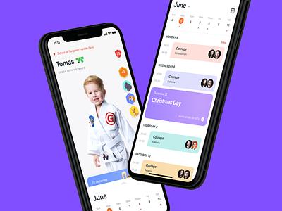 Gymnasium Mobile App illustration profile schedule jiu-jitsu sport planner ios app design achievement child calendar ux card photo ui clean app