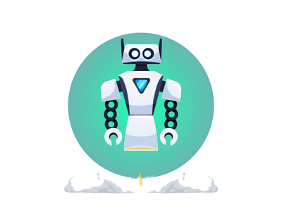 Robo idle animation hover chatbot sci-fi characterdesign character animation idle robot gif illustration animation
