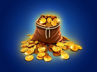 100 tokens pack game ui currency store game art coin pack bag tokens coins app 3d
