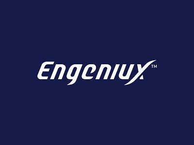 Engeniux logo design logotype software company typography identity branding logo