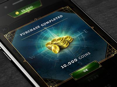 Hidden Secrets modal hidden secrets treasure hunt compass shop purchase mobile game game art app shiny gold money modal coins game ui purchase screen