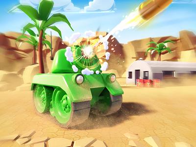 Tank Game Art desert illustrationn 2d 3d game app game art splash art tank game