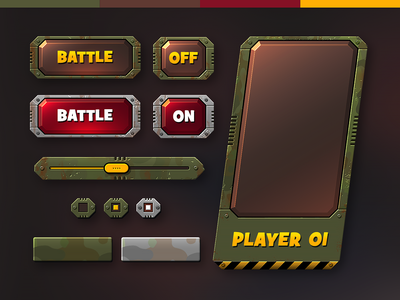 Tank Game UI ui kit sliders buttons 2d military army camouflage tank game game ui