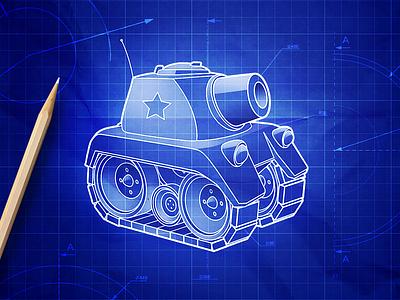Tank Blueprint tech design assembly blueprint military war game ui tank game art gif animation