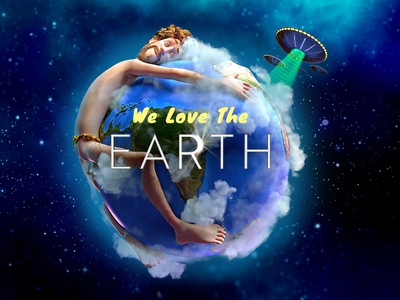 We Love The Earth newsletter web  design aliens flying saucer space earth day earth lil dicky animaiton
