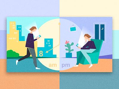 Online life graphic  design people online character data visualisation vector color illustration