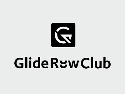 Glide Row Club fitness yoga trx sport sport club glide club row blackandwhite app design mark vector identity logo branding