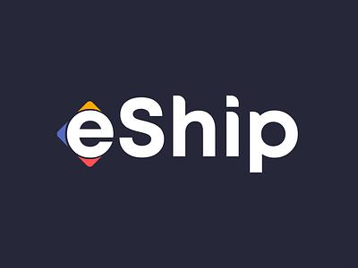 eShip logo e logo delivery service app delivery ship icon typography mark identity logo branding vector