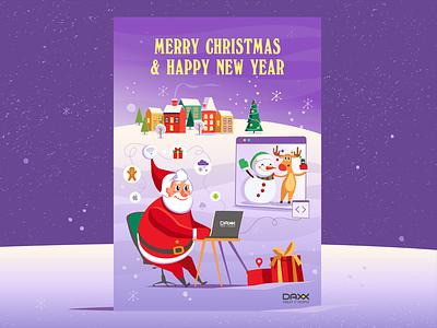 Christmas card daxx android ios gift santa software christmas card 2020 new year caracter data visualisation illustration branding vector