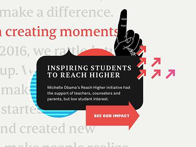 Impact Site hand arrows serifs button cta web illustration