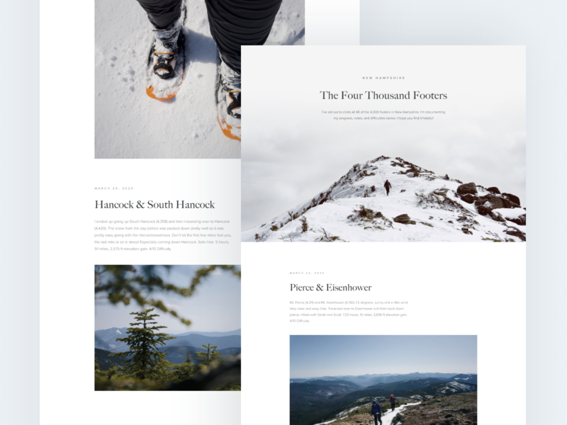 New Hampshire Photography Hiking Journal mountains journal new hampshire hiking minimal web design clean web design web design ux design ui design