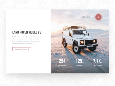 Land Rover Web Page Concept product specs product page car web design web design minimal design ux design ui design land rover outdoor car
