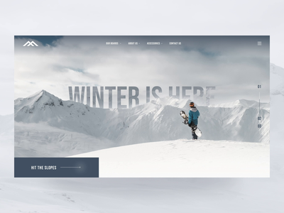 Snowboarding UI Animation interaction mountains parallax snowboarding animation interaction design product page clean web design ux design web design ui design