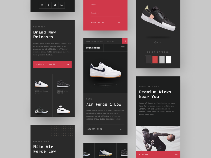 Foot Locker's House of Hoops Mobile Screens shoes minimal web design mobile product page clean web design web design ux design ui design basketball