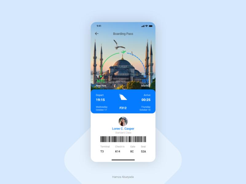 Boarding Pass istanbul adobe ux design ui design boarding pass iphone x adobe xd creative ios iphone interface app ux design ui