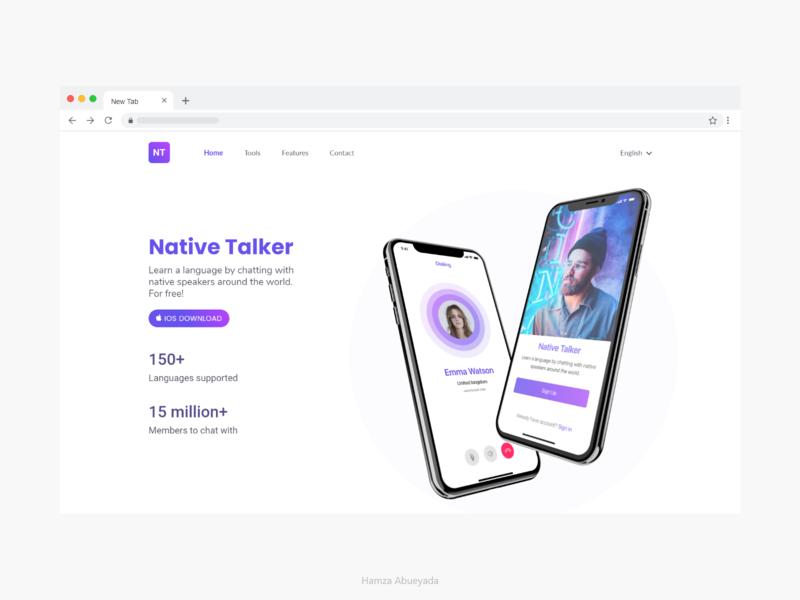 Native Talker landing page website adobe adobe xd web iphone creative interface ui ux design