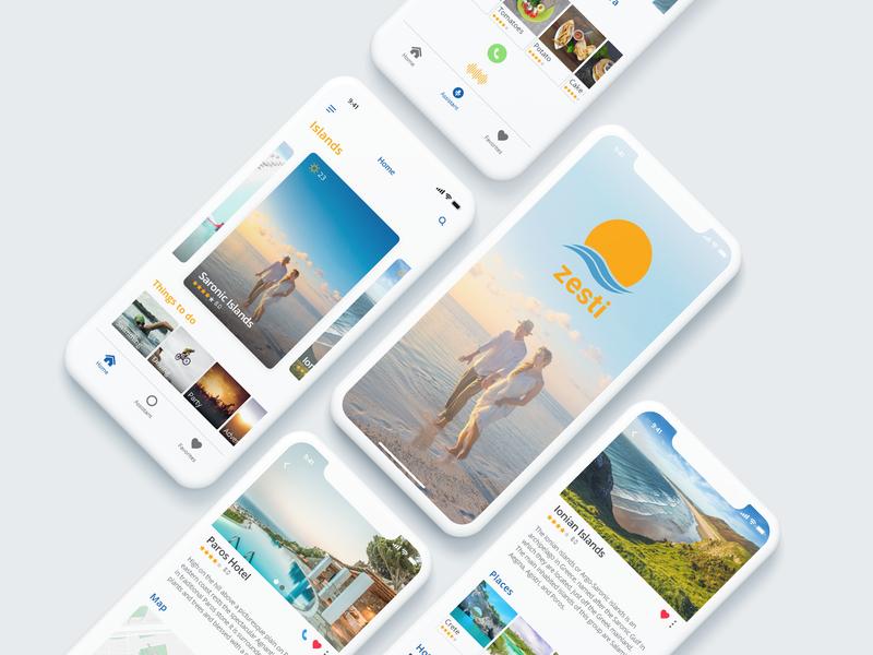 zesti travel guide app place hotel ios app design island greece adobe xd iphone x iphone creative interface app ux design ui travel agency zesti guide travel app