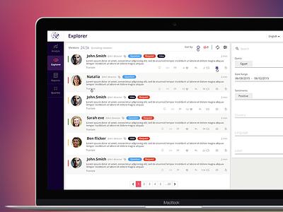 Explorer  media social list twitter tweets web app material design user interface flat design ui ux dashboard