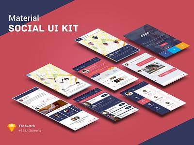 Material social UI Kit download sketch ux app kit ui social material