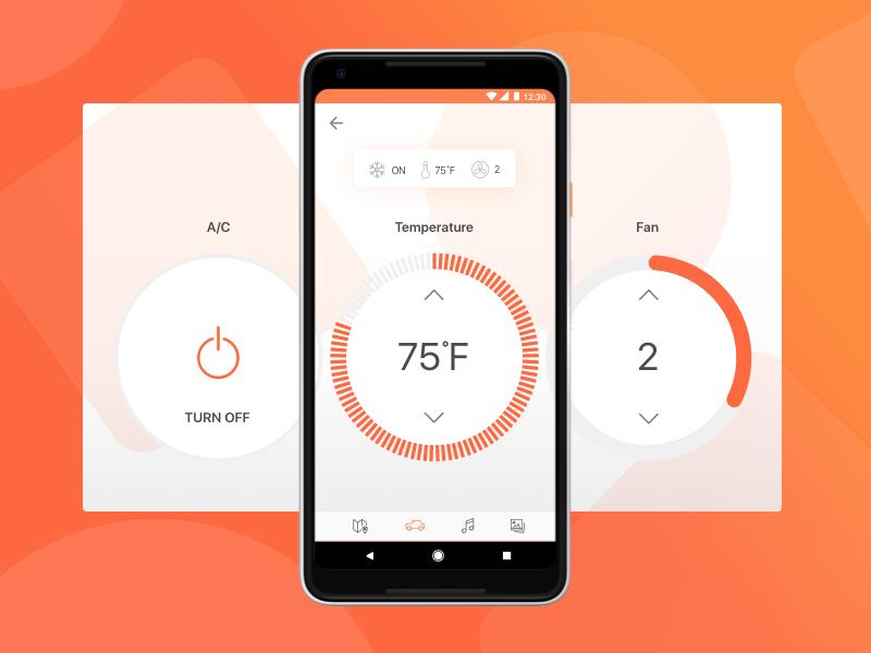 Self-Driving Taxi - Temperature Settings ux ui car self-driving commute mobile app