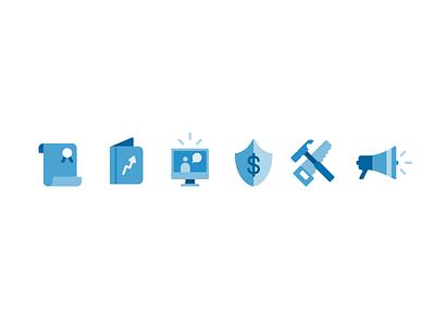 Icons design illustration icon system vector grid okta blue icons