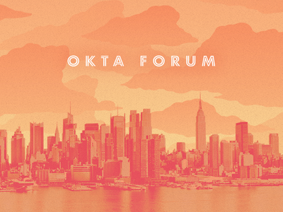 Okta Forum Branding logo clouds illustration branding sunrise sunset city skyline new york