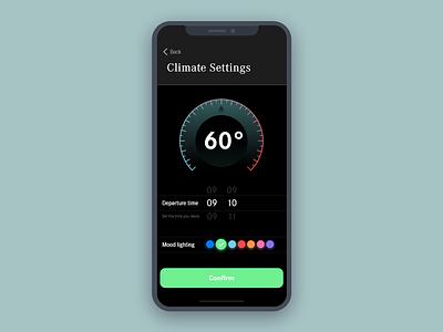 Daily UI #007 | Settings mbux settings dailyui ui interface iphone x ios car simple heat mercedes app
