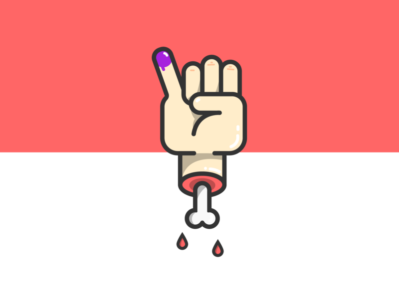 Ayo Nyoblos ! cartoon skull art election day election hand indonesia vector illustration design