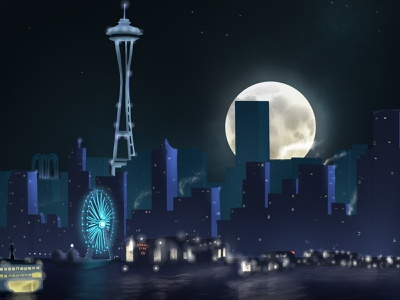 Sleepy City fullmoon night skyline illustration digitalart procreate seattle