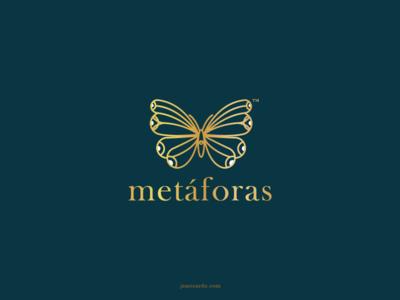 Metáforas brand mark brand identity geometric design luxury logo butterfly isologotipo logodesign