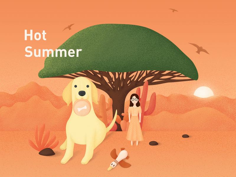 Hot Summer dog illustration design