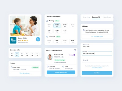 Practo Online Doctor Consultation UI Components hospital app clinic book appointment doctor app doctor ui components ui ux ui design