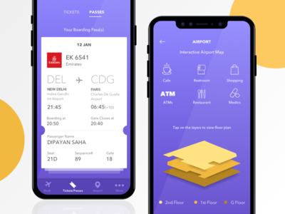 Flyhy - your flying companion mobile uiux app yellow purple ticket booking flight floor plan ui ux boarding pass airport