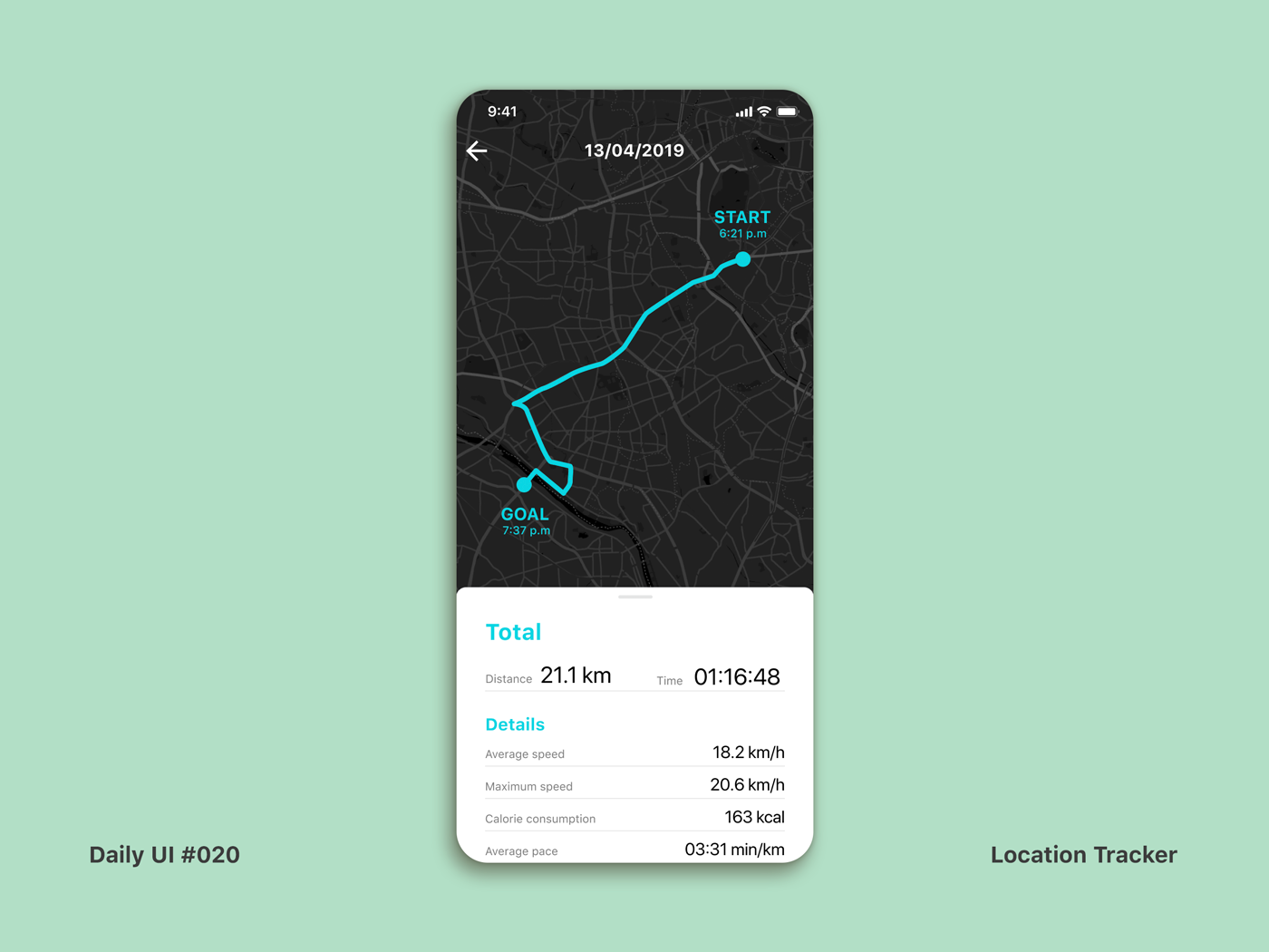 Daily UI #020 Location Tracker cycling location tracker dailyui020 dailui app interface ui dailyui