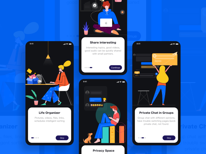 Life Organizer APP white black space private card color guide page illustraion ue iphone x people character ui