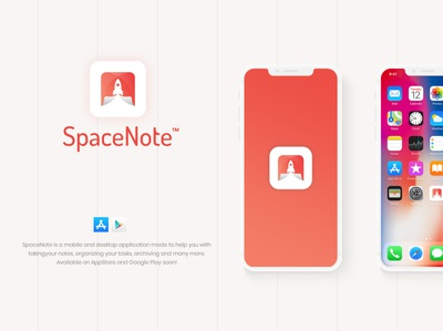 Space Note paper spaceship rocket notes space icon app logo application