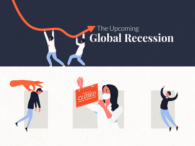Global Recession characters moodboard recession chart economics infographic illustraion
