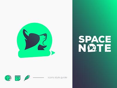 SpaceNote icon design color palette application logo dog logo animal logo dog space logo