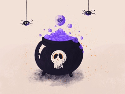 Happy spooky eve halloween bat skull illustration spiders potion spooky halloween2020