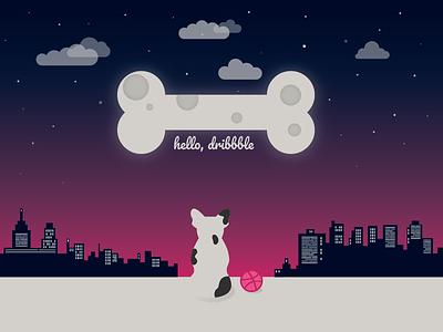 Debut Shot first shot dog illustration dribbble ball debut