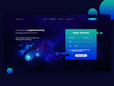 Crypto Banner website app bitcoin crypto gradient web banner ui