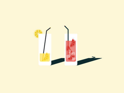Summertime lemon vacation illustration summer beach sea cocktails glasses