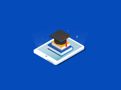 Digital Education education book tablet isometric futuristic books blue digital illustration